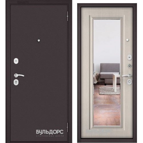 Дверь Бульдорс Эконом Е-140 Зеркало Ларче бьянко